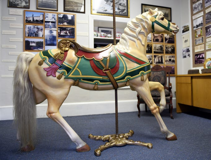 Millville Historical Society President Bob Francois said the Wood Mansion House recently acquired a wooden carousel horse, circa 1907, that was used at Union Lake Amusement Park. Friday, Jan. 4, 2019.
