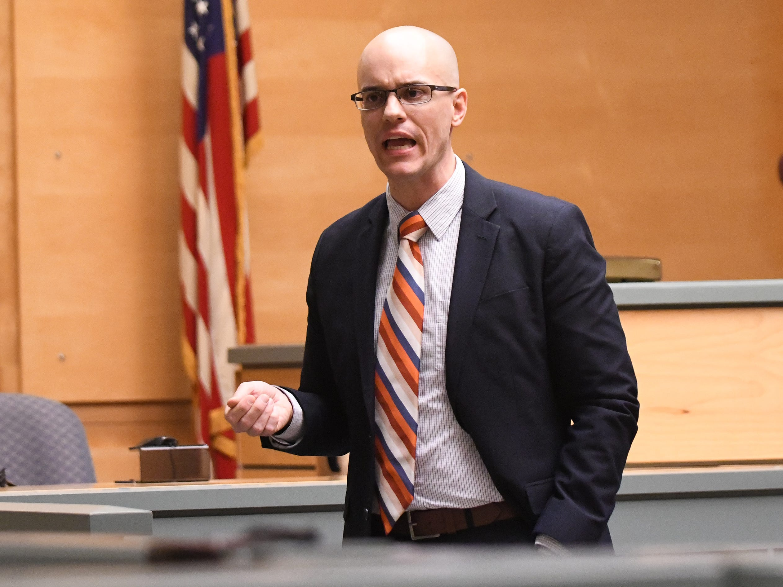 County Assistant Prosecutor Charles Wettstein delivers his opening statements to jurors in the murder trial of Jeremiah E. Monell in Cumberland County Superior Court on Thursday, January 3, 2019.