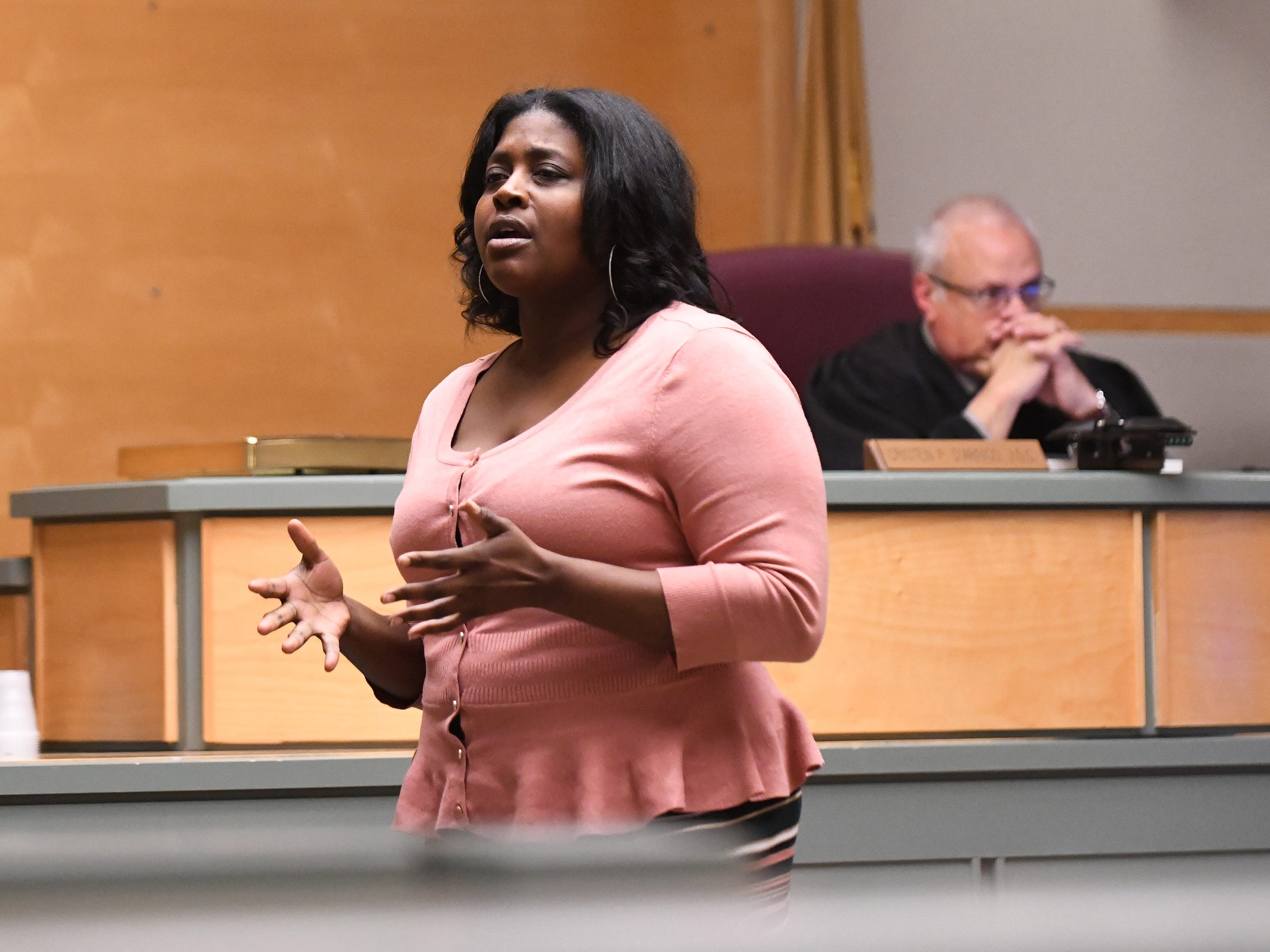 Defense attorney JoEllyn Jones delivers her opening statements to jurors in the murder trial of Jeremiah E. Monell in Cumberland County Superior Court on Thursday, January 3, 2019.