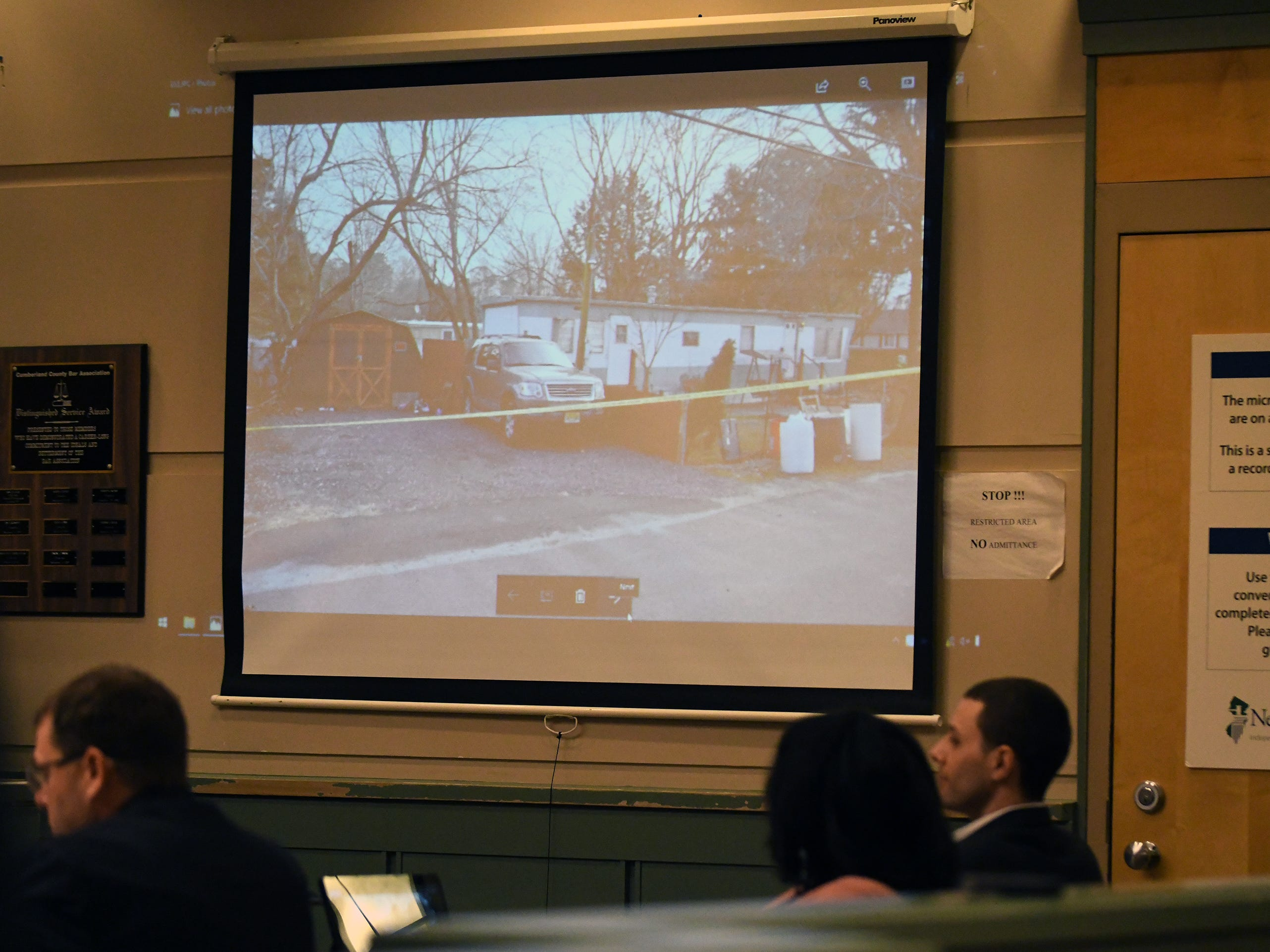Pictures of the crime scene are shown to jurors during the murder trial of Jeremiah E. Monell in Cumberland County Superior Court on Thursday, January 3, 2019. 35-year-old Tara O'Shea-Watson was killed inside her home in the Laurel Lake section of Commercial Township on Dec. 19, 2016.