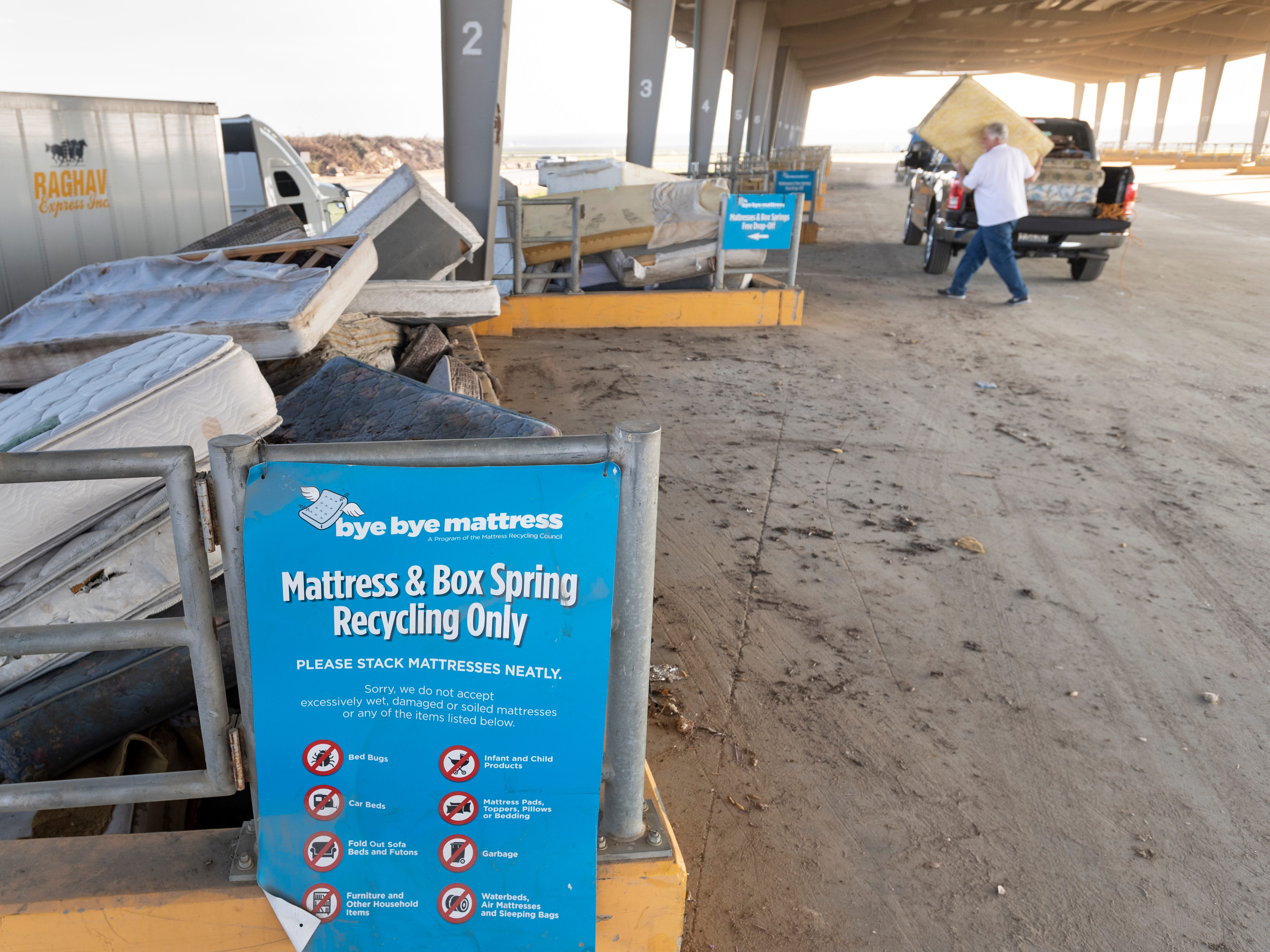Local residents contribute to a mattress recycling program
