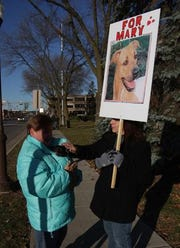 Mary Teige, right, of Wausau, pets the tea cup chihuahua of Annette Hayek, of Wausau, as they protest outside the Marathon County Courthouse in October 2014 after a hearing for Sean D. Janas.