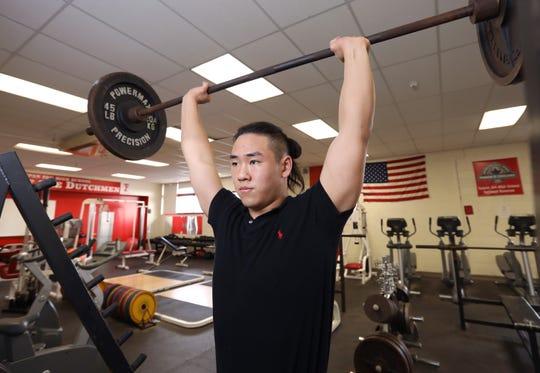 Tappan Zee wrestler Paul Lee, Rockland Scholar-Athlete of the Week lifts in the school's weight room Jan. 4, 2019.