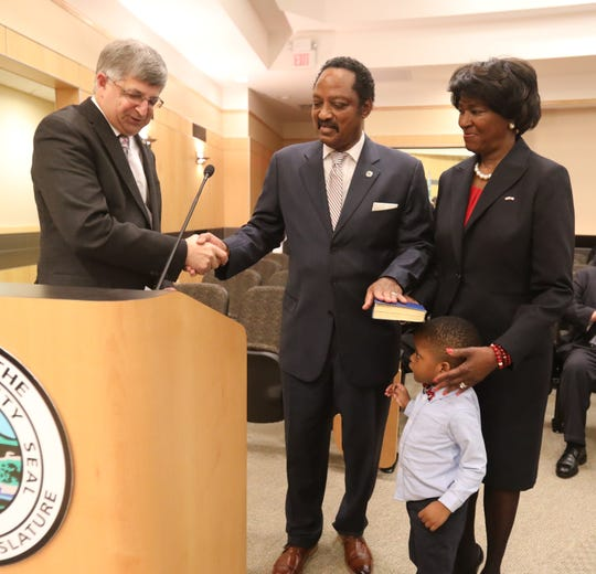 Legislature chairman Toney Earl is sworn in for his third term by County Clerk Paul Piperato, left, with his wife Idette and grandson during the first Rockland County Legislature meeting of the year at Rockland County Office Building in New City Jan. 3, 2019.