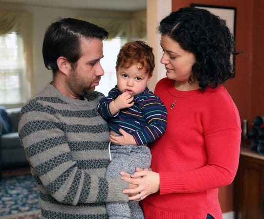 Jeffrey and Kathryn Blank and their 21-month old son Max, are pictured at their home in Scarsdale, Jan. 4, 2019. The tip of Max's finger was shorn off while at a day care facility in Dobbs Ferry that was cited for failing to meet state background check requirements.