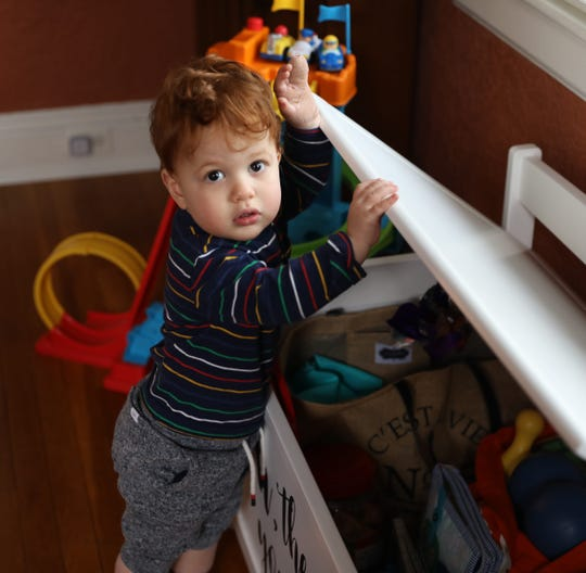21-month old Max Blank is pictured at home in Scarsdale, Jan. 4, 2019.  The tip of Max's finger was shorn off while at a day care facility in Dobbs Ferry that was cited for failing to meet state background check requirements.