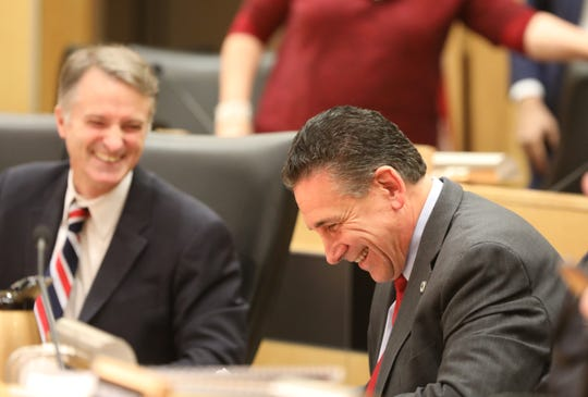 Minority Leader Lon Hofstein, right, shares a laugh with his fellow legislature during a meeting at Rockland County Office Building in New City Jan. 3, 2019.