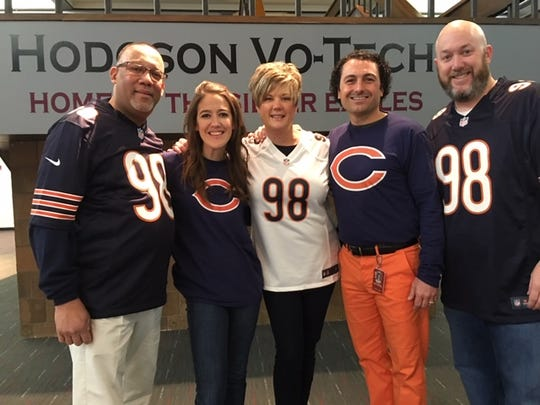 Decked out in Bilal Nichols jerseys and Chicago Bears gear at Nichols' alma mater, Hodgson Vo-Tech, on Friday are (L-R) Hodgson football coach Frank Moffett, teacher Kelly Bench, student activities director Lisa Jackson, assistant principal Mike Paoli and athletic director Dave Collins.