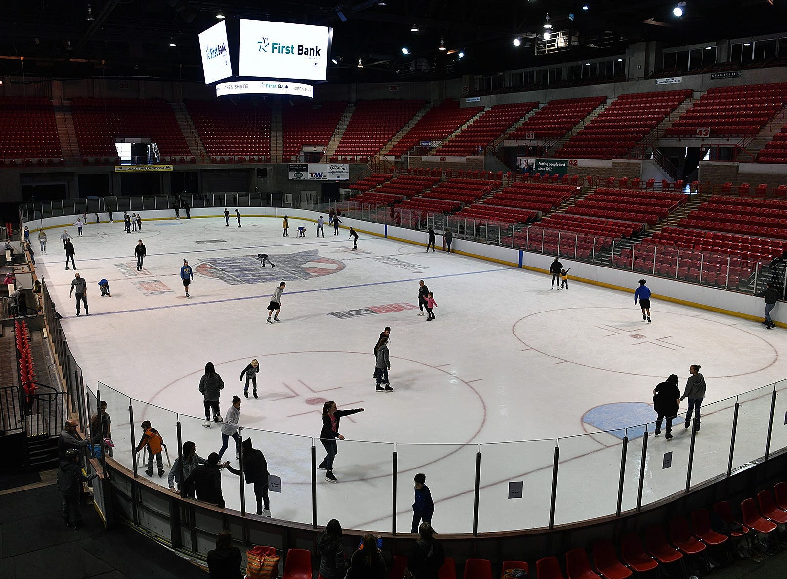 The Kay Yeager Coliseum hosted an Open Skate event Friday sponsored by First Bank. This was the last ice skating event of the season.