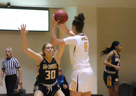 Hannah Reynolds of Midwestern State had 16 points and eight blocked shots against Texas A&M-Commerce Saturday in Lone Star Conference action at D.L. Ligon Coliseum.