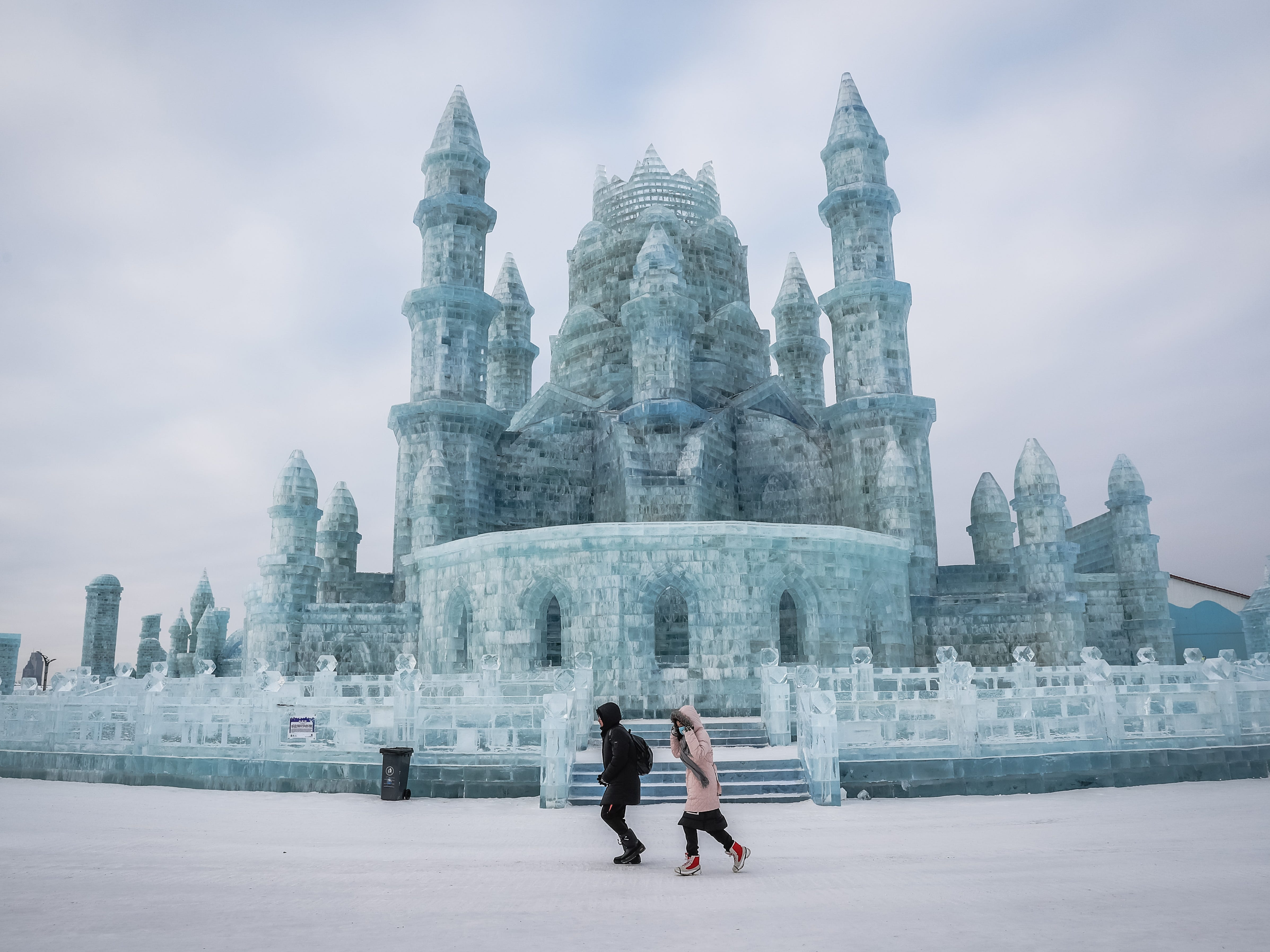 Some 120,000 cubic meters of ice and 111,000 cubic meters of snow were used to build the Harbin Ice and Snow World where the festival will last for about three months.
