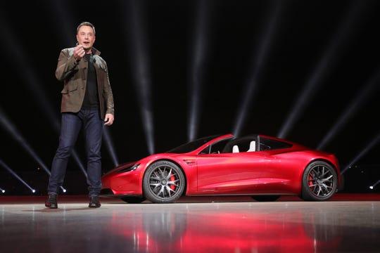 AFP/Getty ImagesTesla founder Elon Musk presents the new Roadster electric sports vehicle at Tesla's Los Angeles design centre,  Nov. 16, 2017.