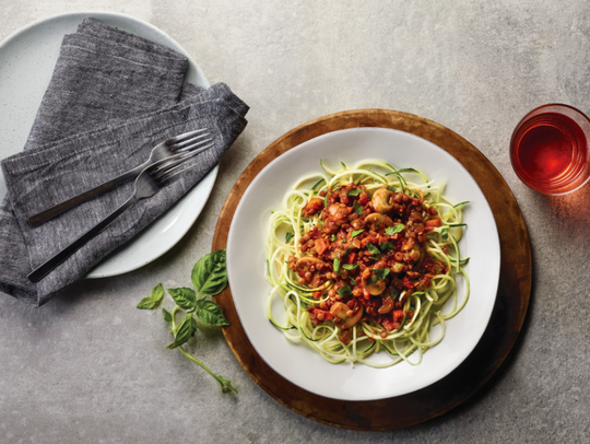 Lentil Bolognese and zoodles make for a meatless spin on a traditional pasta dish.