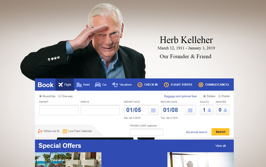Southwest Airlines' website paid tribute to co-founder Herb Kelleher on Friday, Jan. 4, 2019.