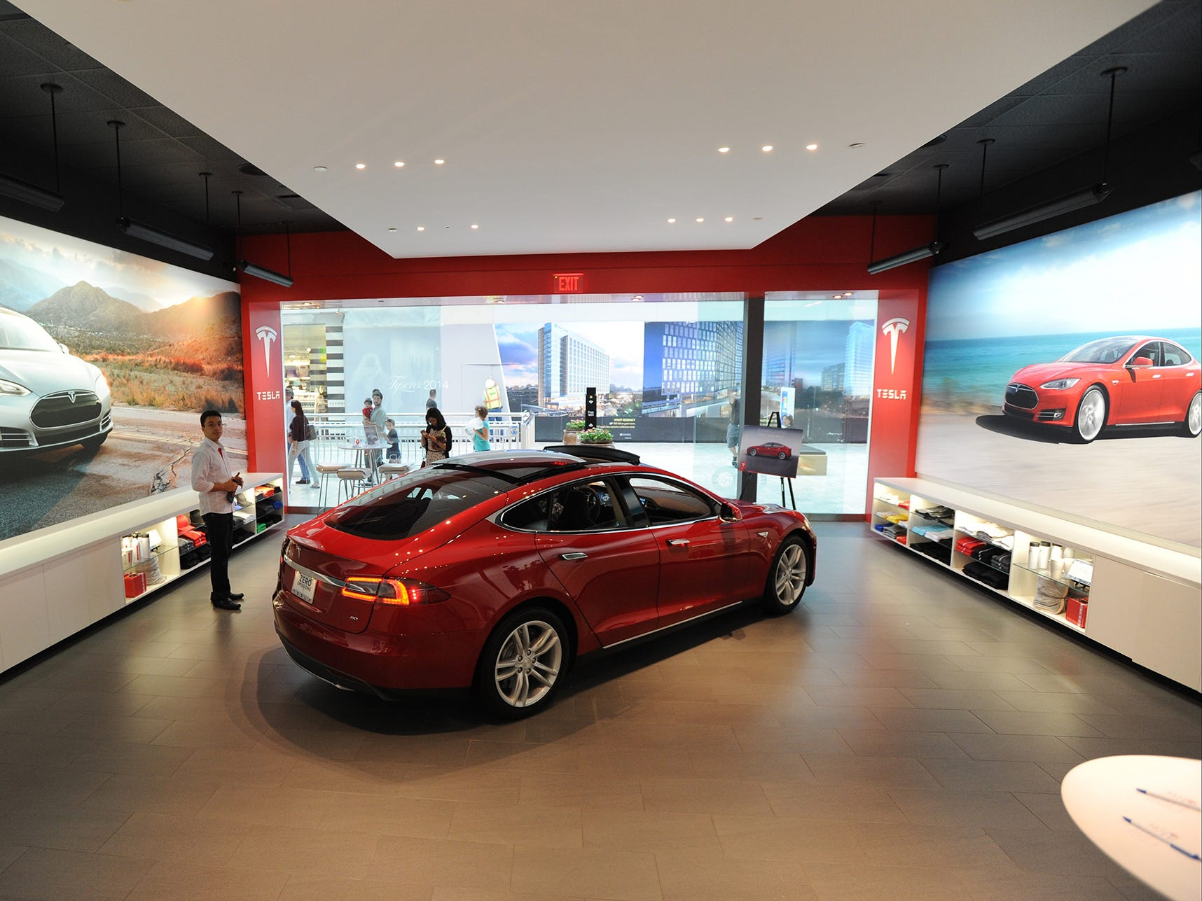 The Tesla Motors showroom in the Tysons Corner Mall in VA. June 12, 2014.