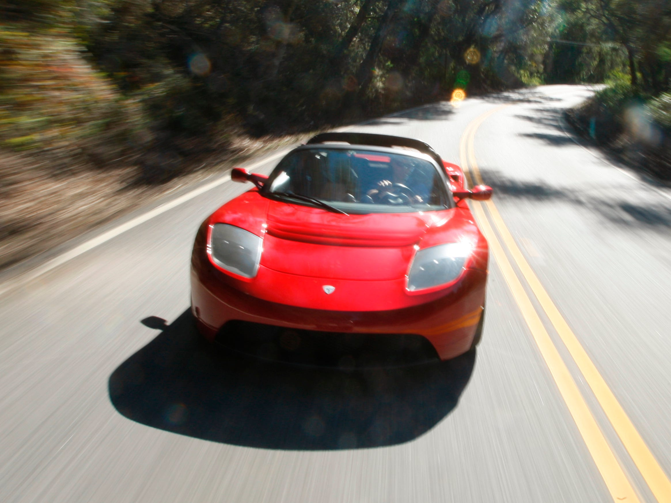 This Tesla Roadster on the road in San Carlos, Calif. Feb. 28, 2008