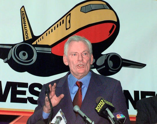Southwest Airlines President and CEO Herb Kelleher speaks Dec. 9, 1998, at a news conference at MacArthur Airport in Islip, New York.