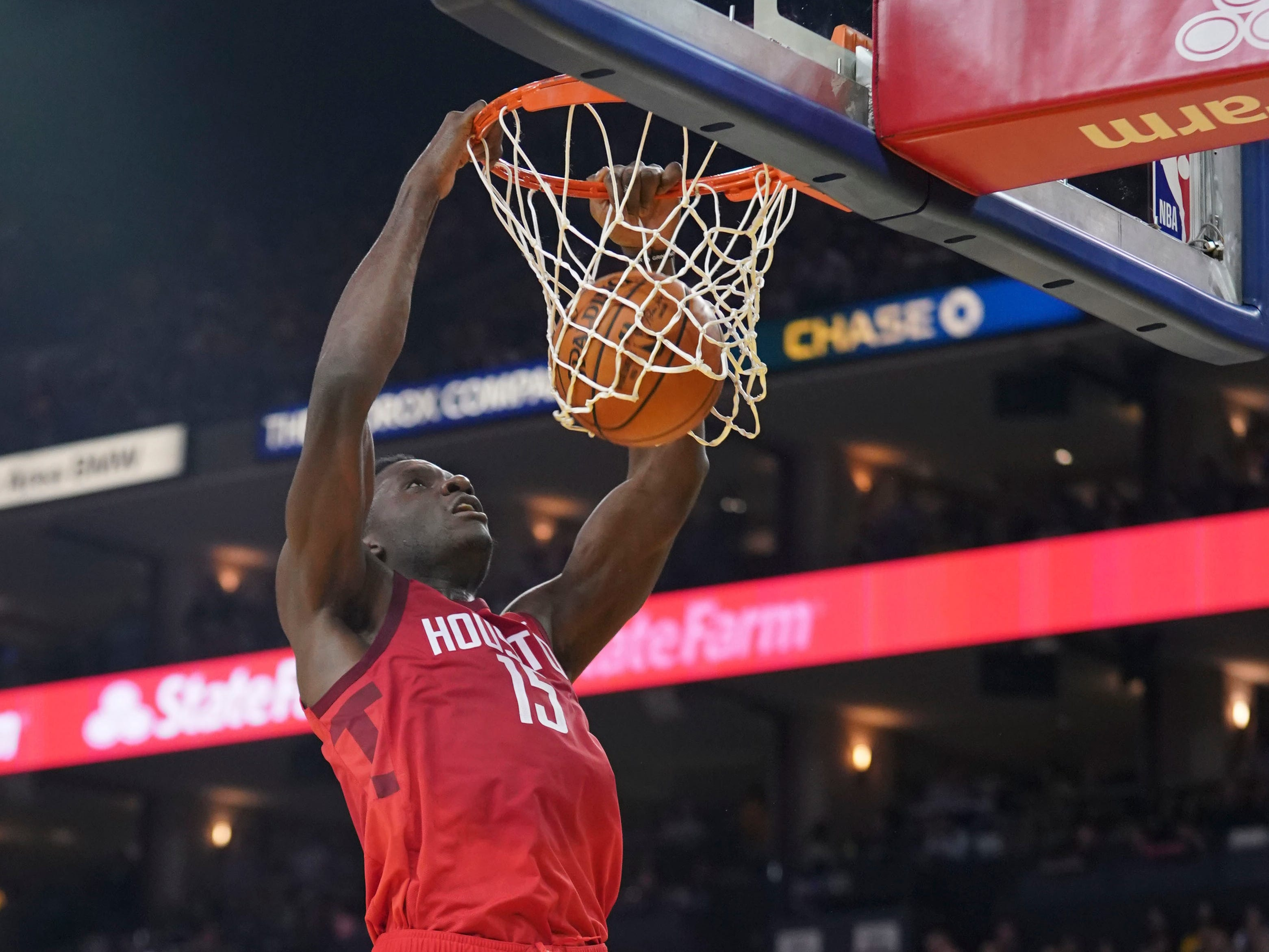 Jan. 3: Houston Rockets center Clint Capela dunks the basketball against the Golden State Warriors during the second quarter at Oracle Arena.