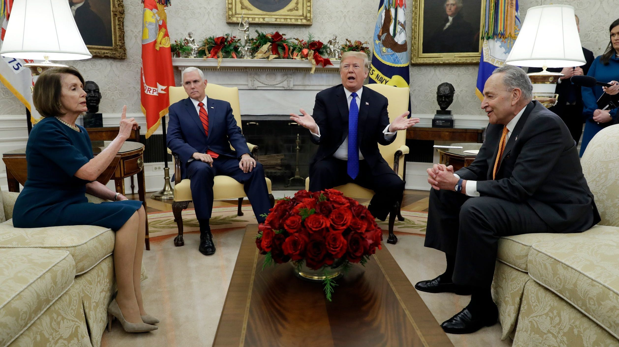 President Donald Trump, Vice President Mike Pence, Senate Democratic leader  Chuck Schumer, D-N.Y., and House Democratic leader Nancy Pelosi, D-Calif., at a meeting last month.