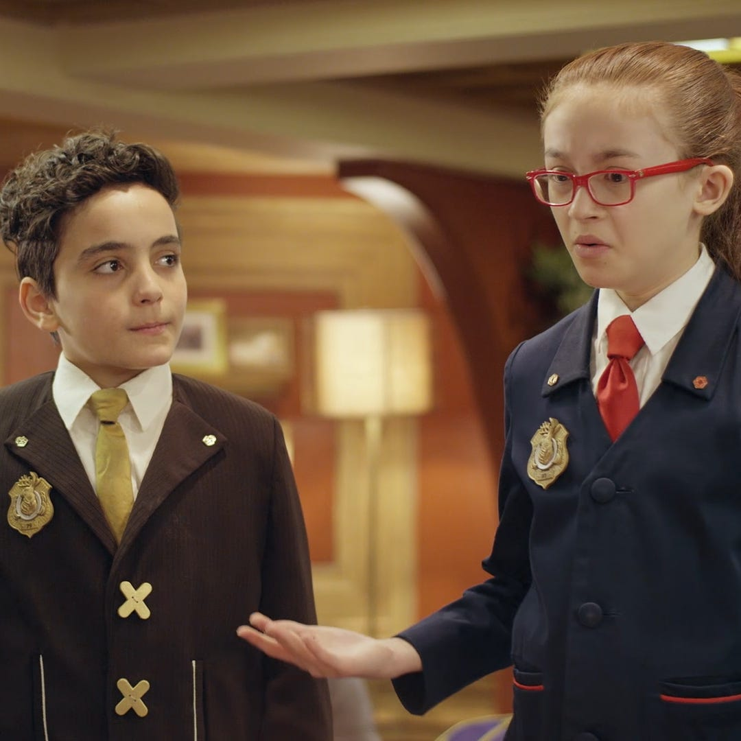 "In the new Odd Squad movie, ""Odd Squad: Odds and Ends,"" Olympia discovers a secret about her partner, Otis (far left)."
