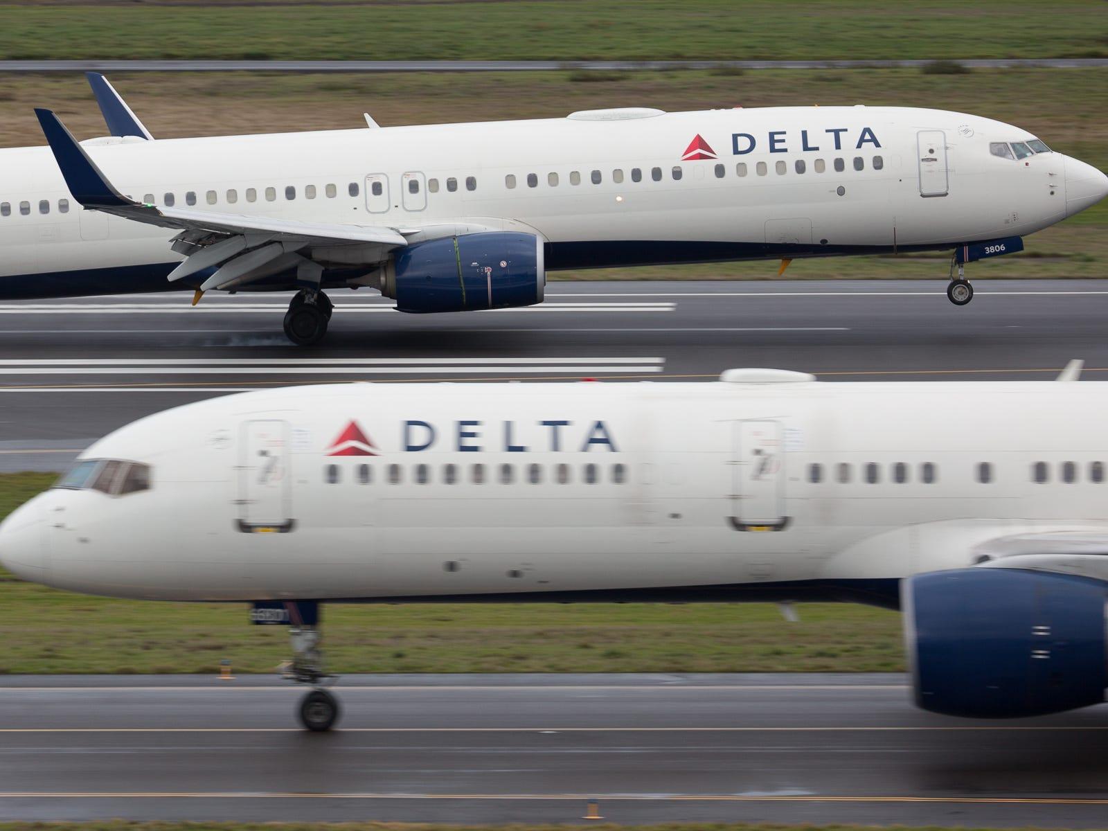 Delta Air Lines jets at Portland International Airport in December 2018.