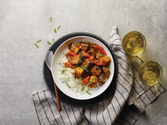 Unexpected flavors like apple, ginger and garlic work well together in this hearty stew.