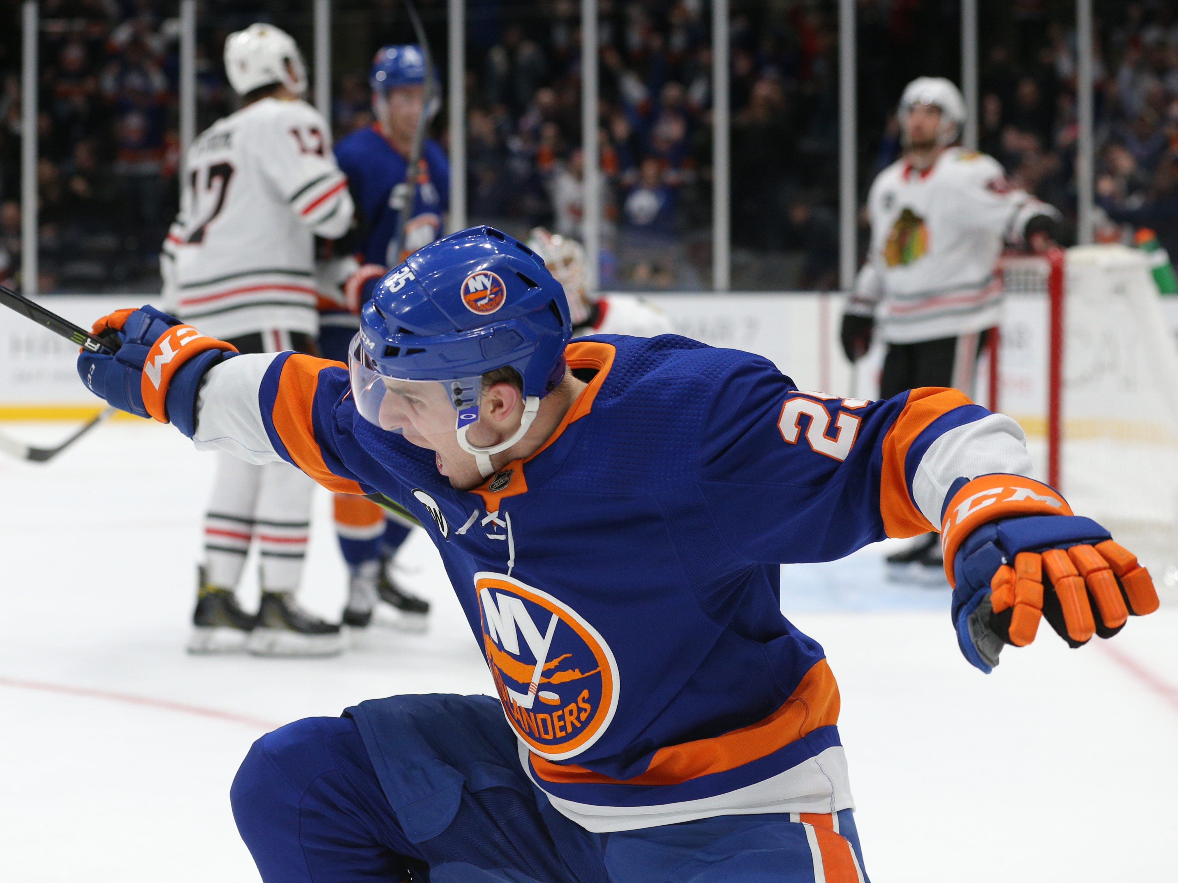 Jan. 3: New York Islanders defenseman Devon Toews celebrates his overtime goal against the Chicago Blackhawks. It was his first career NHL goal.