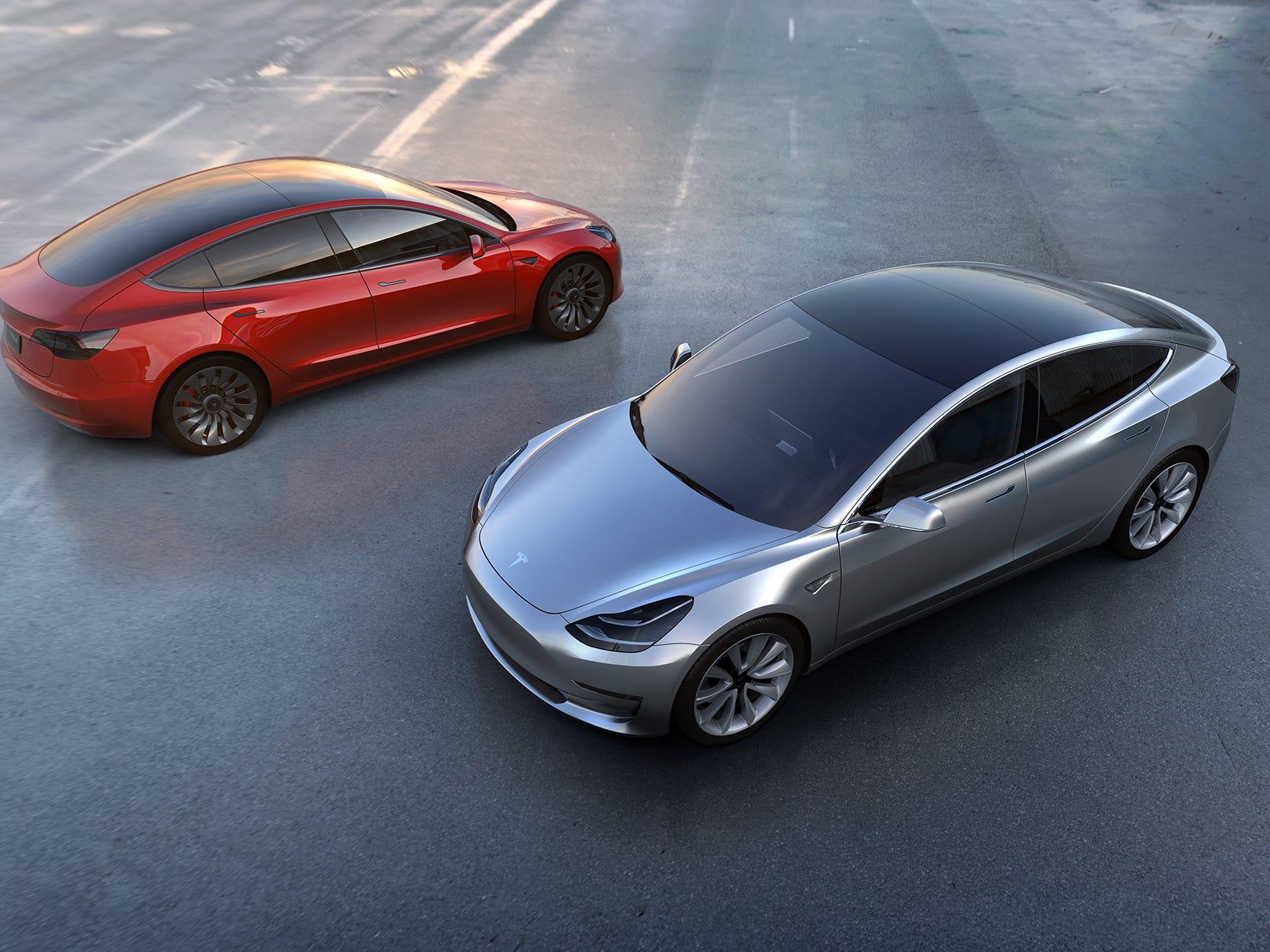 2 Tesla Model 3's.