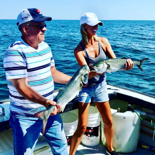 The author and her father, Doug Lyford, on a recent fishing trip.