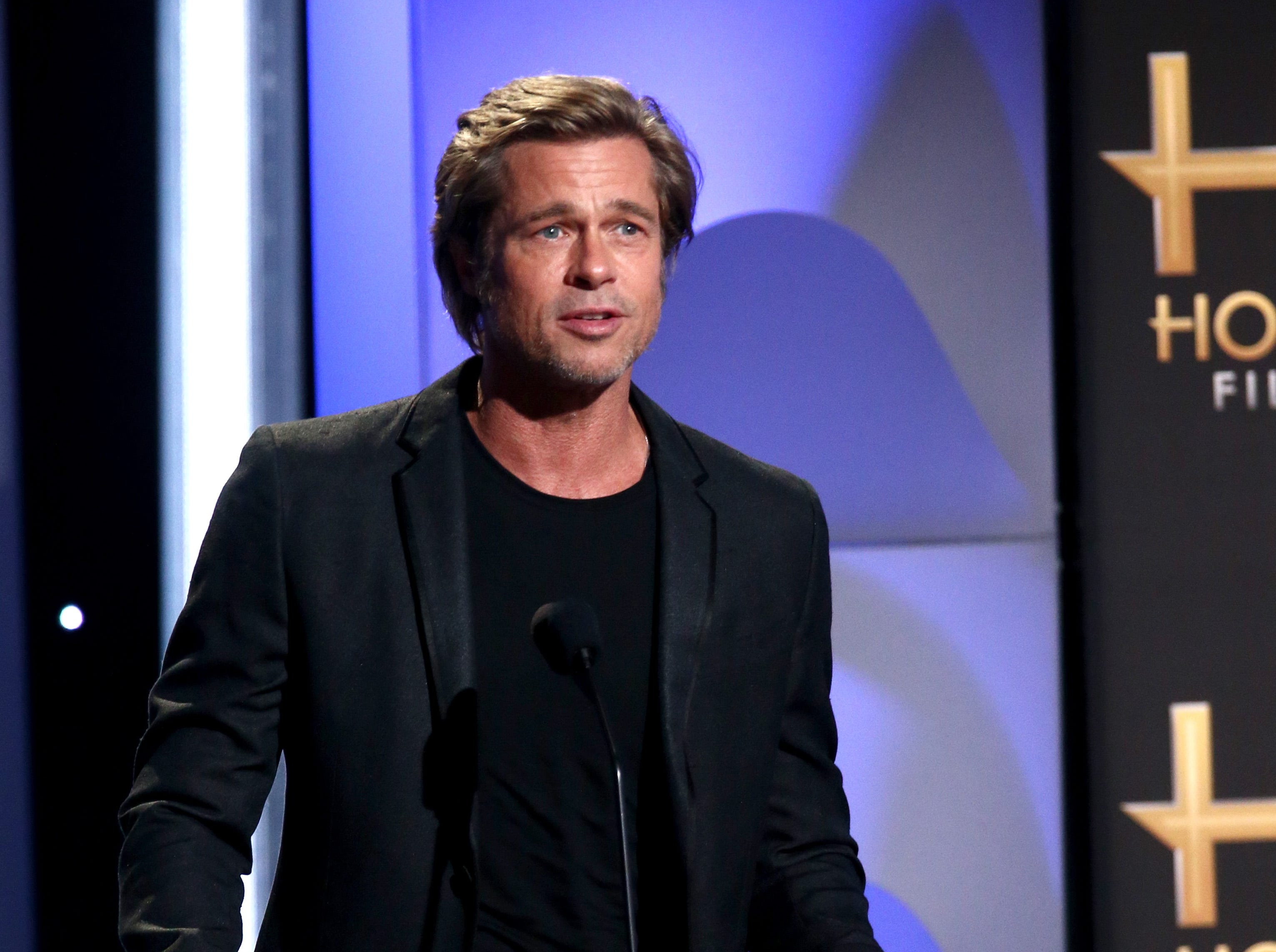BEVERLY HILLS, CA - NOVEMBER 04:  Brad Pitt speaks onstage during the 22nd Annual Hollywood Film Awards at The Beverly Hilton Hotel on November 4, 2018 in Beverly Hills, California.  (Photo by Tommaso Boddi/Getty Images) ORG XMIT: 775237956 ORIG FILE ID: 1057417418