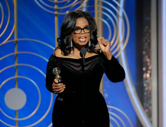 This Jan. 7, 2018 image released by NBC shows Oprah Winfrey accepting the Cecil B. DeMille Award at the 75th Annual Golden Globe Awards in Beverly Hills, Calif. Winfrey's rousing call for social justice in the name of the MeToo movement drew wild cheers in the ballroom at the Golden Globes Awards in January and reverberated across the land. Pundits and Oprah-whisperers proclaimed it a first step toward a presidential run, and #oprah2020 trended. (Paul Drinkwater/NBC via AP) ORG XMIT: NYET391
