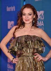 Lindsay Lohan on the red carpet at the MTV EMAs in Spain in November.