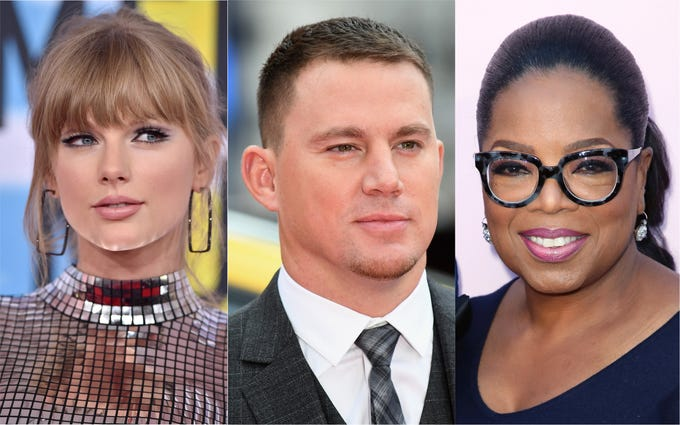 Taylor Swift, Channing Tatum, Oprah Winfrey