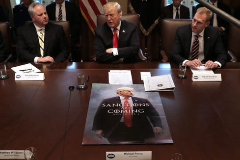 President Donald Trump leads a meeting of his Cabinet at the White House Jan. 2, 2019.
