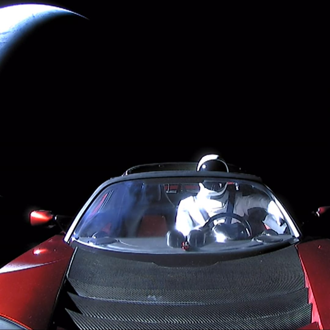 "A Tesla roadster launched from the Falcon Heavy rocket with a dummy driver named ""Starman""  heads towards Mars, Jan. 22, 2018."