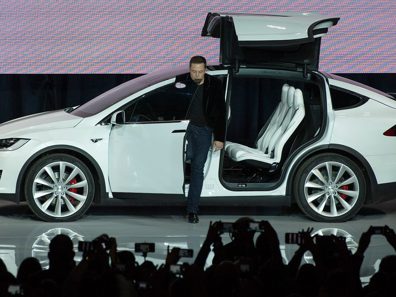 Tesla Motors  CEO Elon Musk unveils the Model X at a launch event in Fremont, Calif. Sept. 29, 2015.
