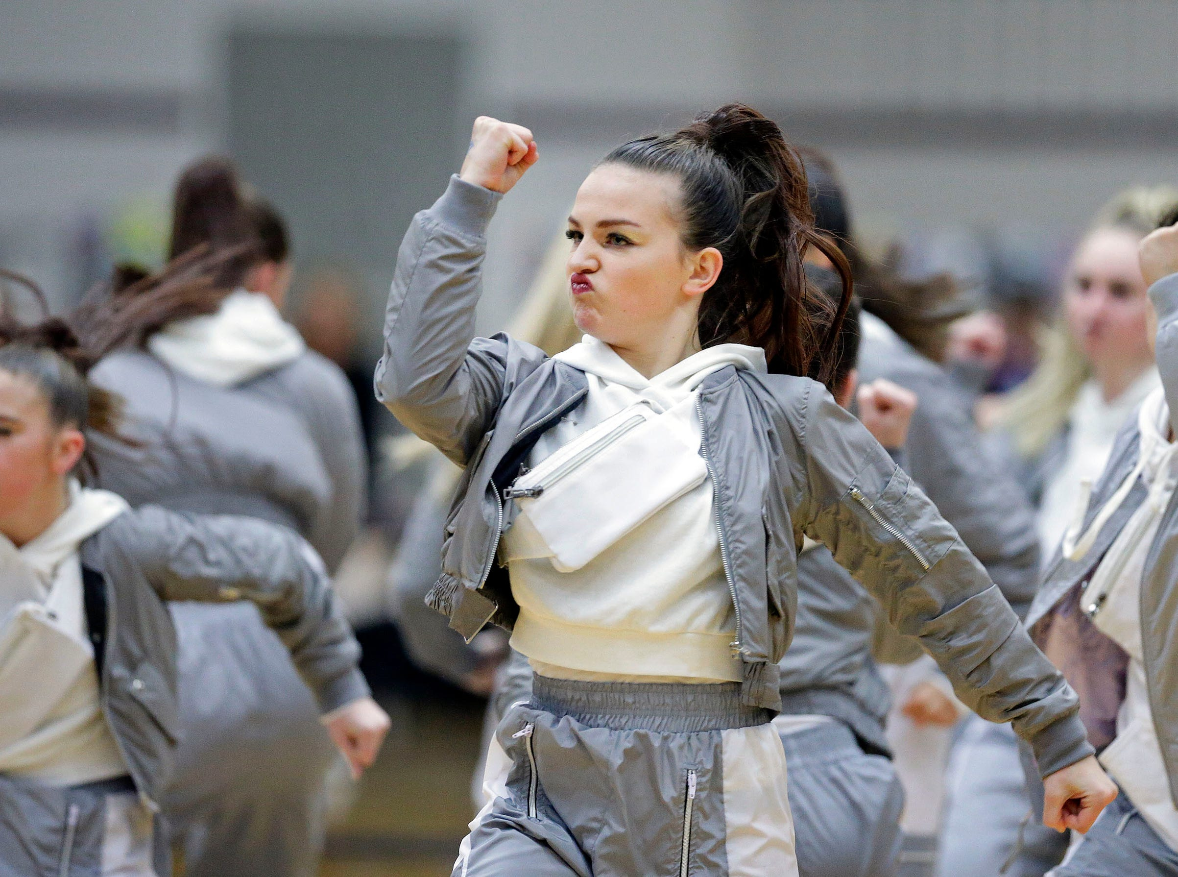 Sheboygan North performs in the Varsity Hip-Hop Division as the Lightning Bolt Explosion Cheer and Dance competition takes place Saturday, January 5, 2019, at Appleton North High School in Appleton, Wis.
