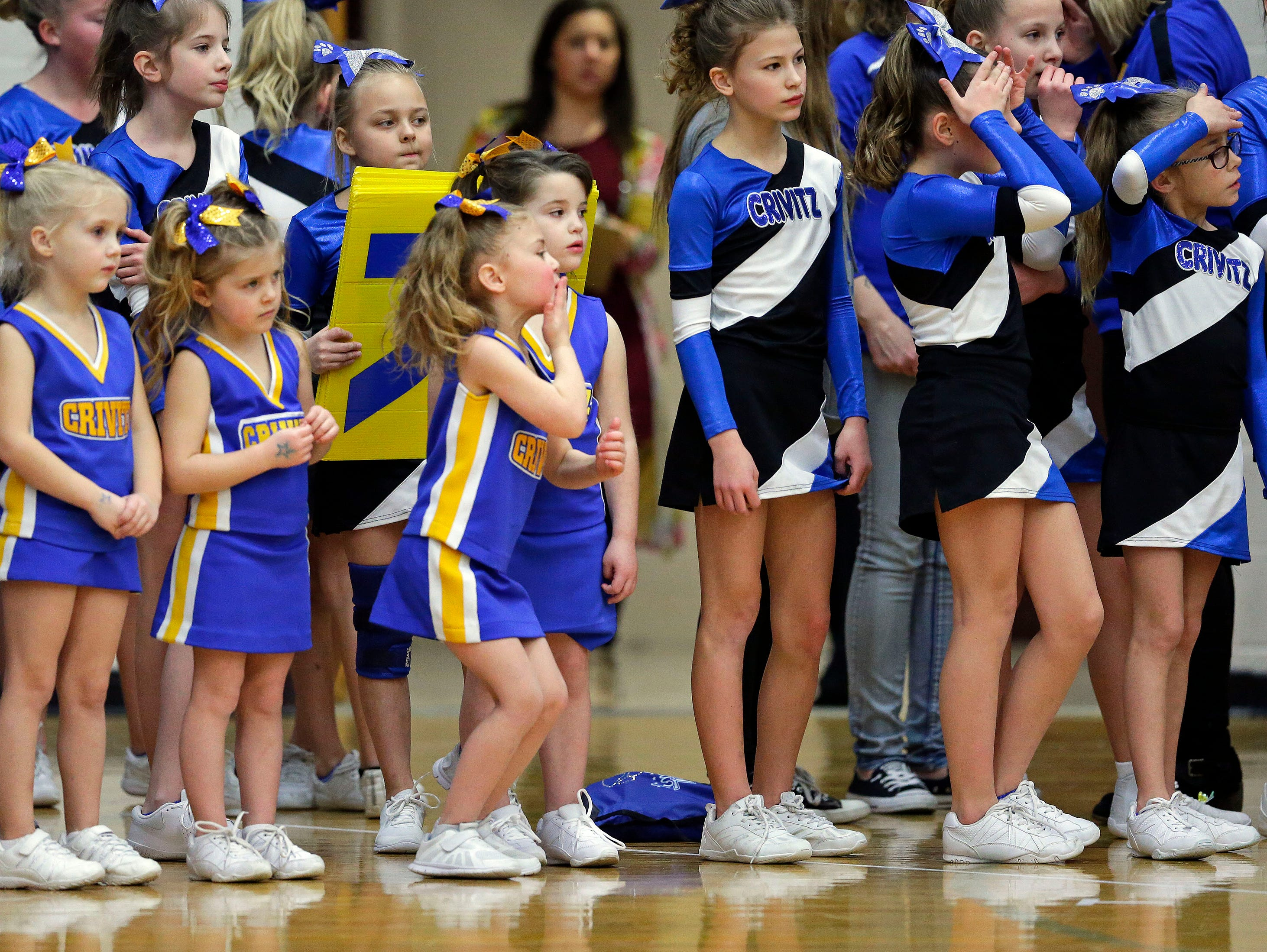 Brandy Klukas of Crivitz blows a kiss to her mother as the Lightning Bolt Explosion Cheer and Dance competition takes place Saturday, January 5, 2019, at Appleton North High School in Appleton, Wis. Ron Page/USA TODAY NETWORK-Wisconsin