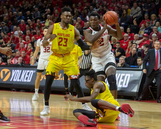 Rutgers' Shaquille Doorson picks up a loose ball and feeds it underneath for a shot. Maryland vs Rutgers Men's Basketball in Piscataway, Nj on January 5, 2019
