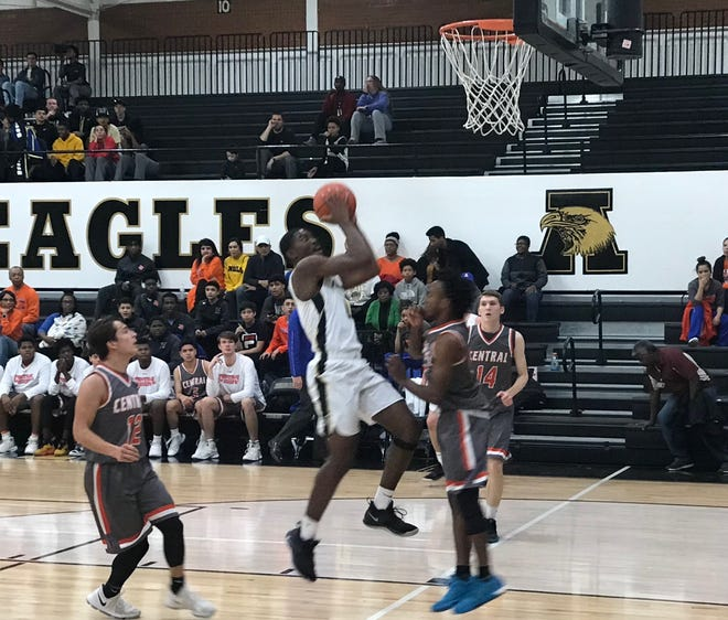 Donte Cuffy goes up for a lay up during Anilene High's District 3-6A game against San Angelo Central Jan. 4, 2019.