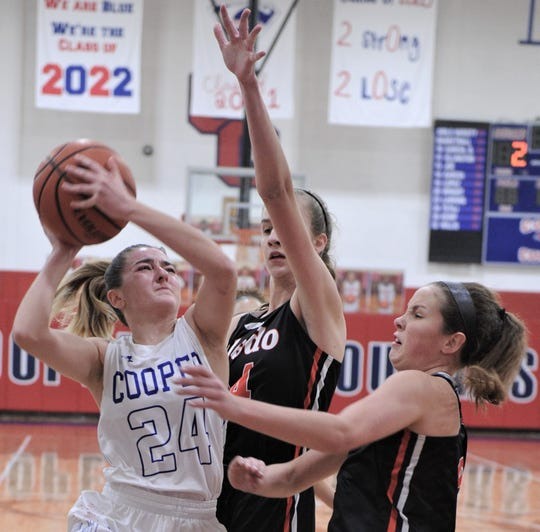 Cooper's Meri Tetaj (24) drives to the basket as Aledo's Maddie Shumway and a teammate defend. Aledo beat the Lady Cougars 62-26 in the District 4-5A opener Friday, Jan. 4, 2019, at Cougar Gym.