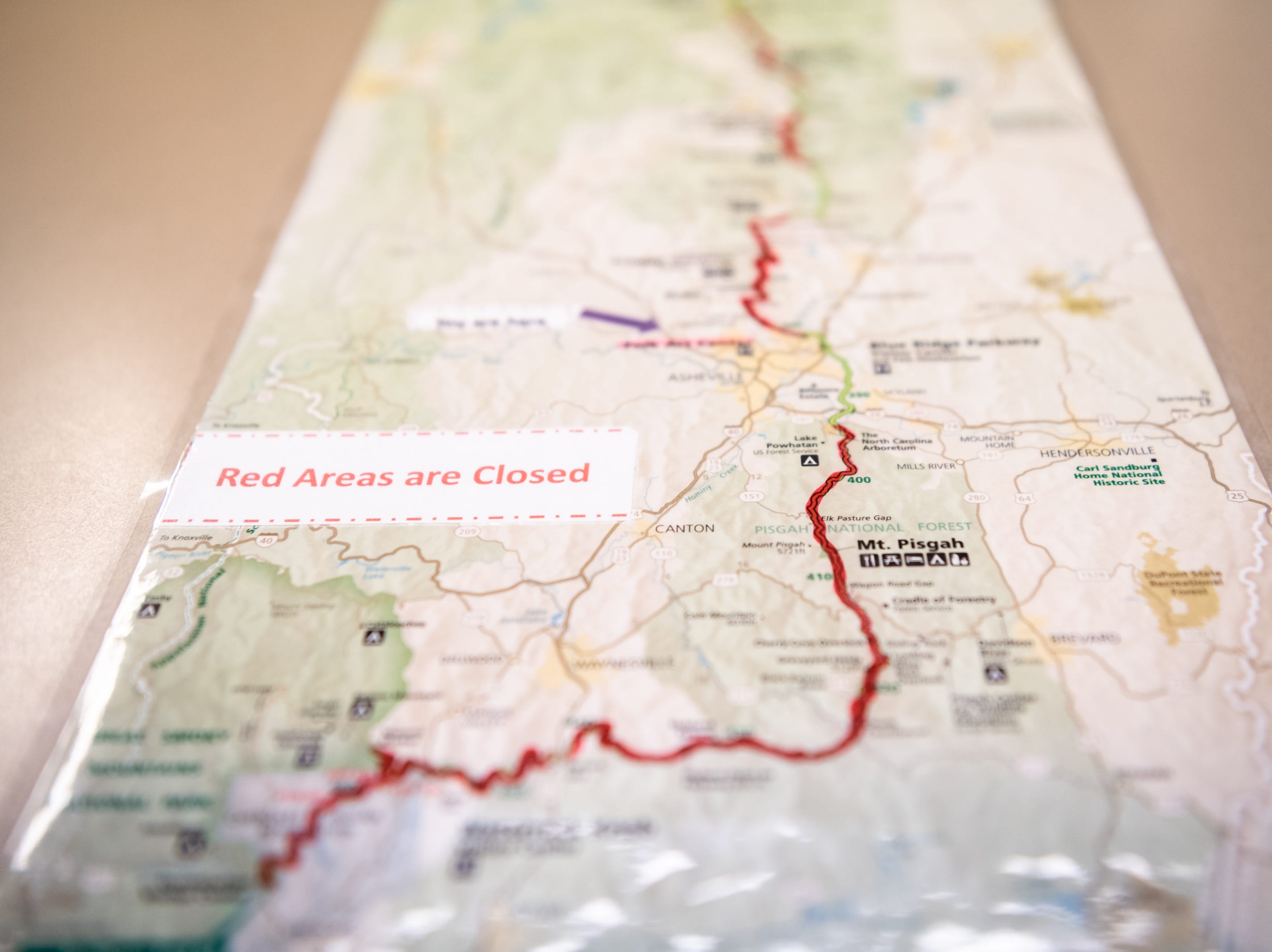 A map at the Folk Art Center showing which section of the Blue Ridge Parkway are closed due to the government shutdown, Jan. 5, 2019. The Folk Art Center is the only facility on the Parkway currently open. An employee there stated that she has observed much lighter traffic than usual since the shutdown.