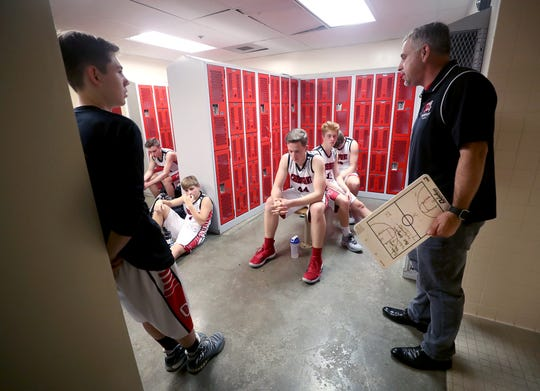 Derrin Doty talks to his Crosspoint boys basketball team at halftime of a recent game against Klahowya.
