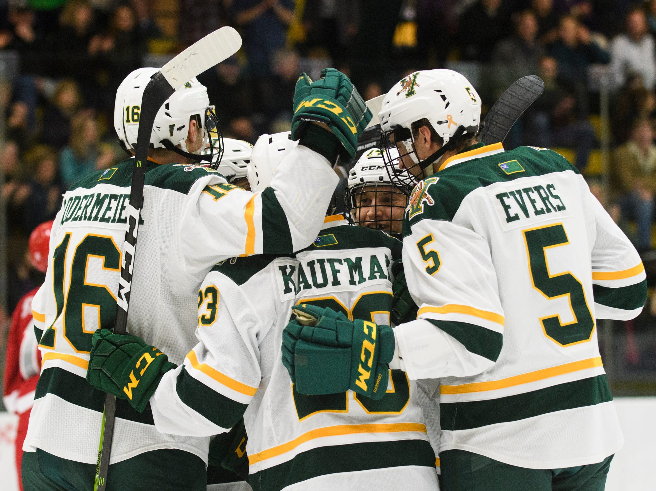Vermont celebrates a goal during the men's hockey game between the Sacred Heart Pioneers and the Vermont Catamounts at Gutterson Field House on Friday night January 4, 2019 in Burlington.