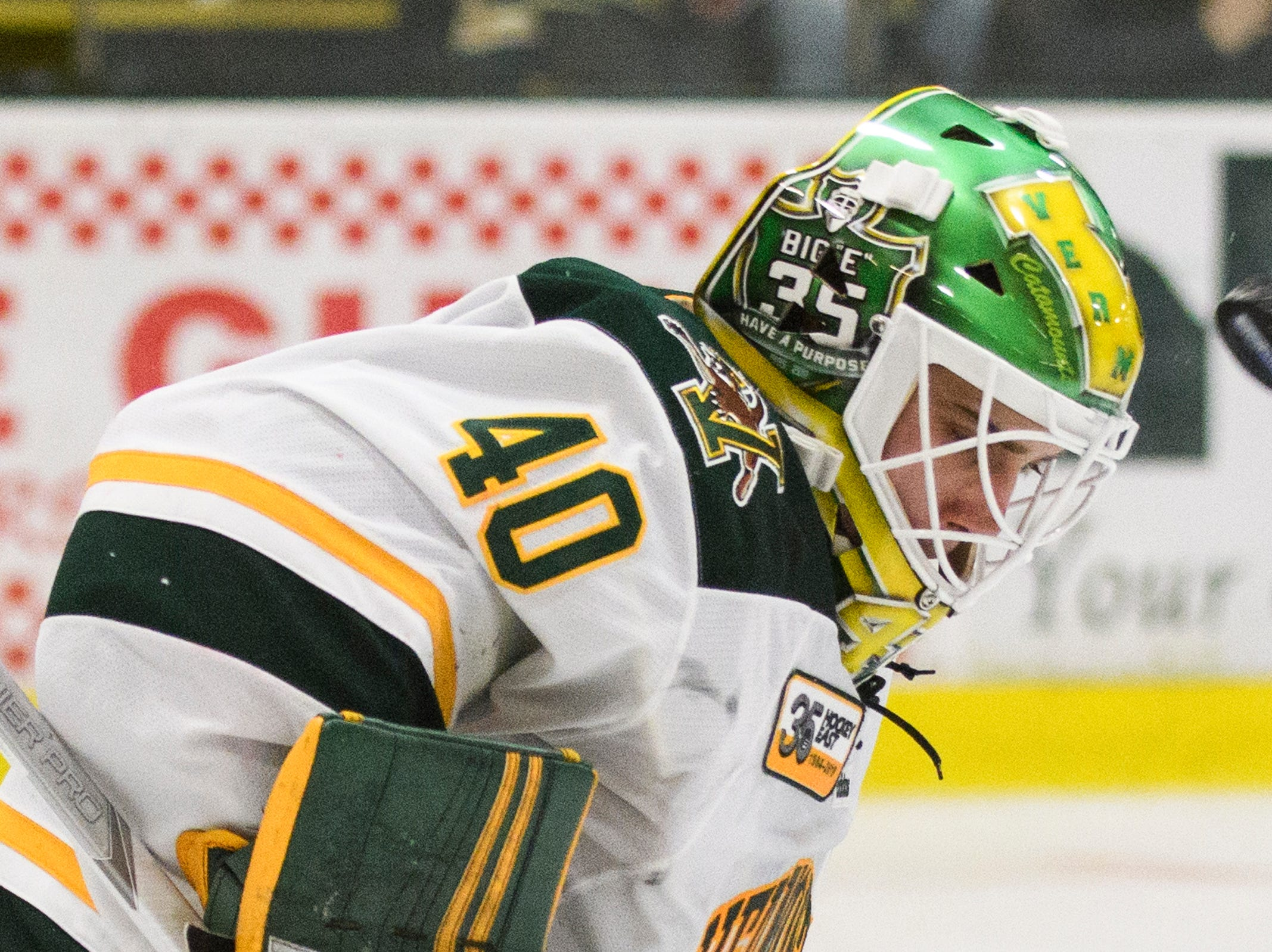 Vermont goalie Stefanos Lekkas (40) makes a save during the men's hockey game between the Sacred Heart Pioneers and the Vermont Catamounts at Gutterson Field House on Friday night January 4, 2019 in Burlington.