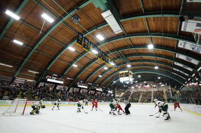 Vermont and Sacred Heart face off during the men's hockey game between the Sacred Heart Pioneers and the Vermont Catamounts at Gutterson Field House on Friday night January 4, 2019 in Burlington.