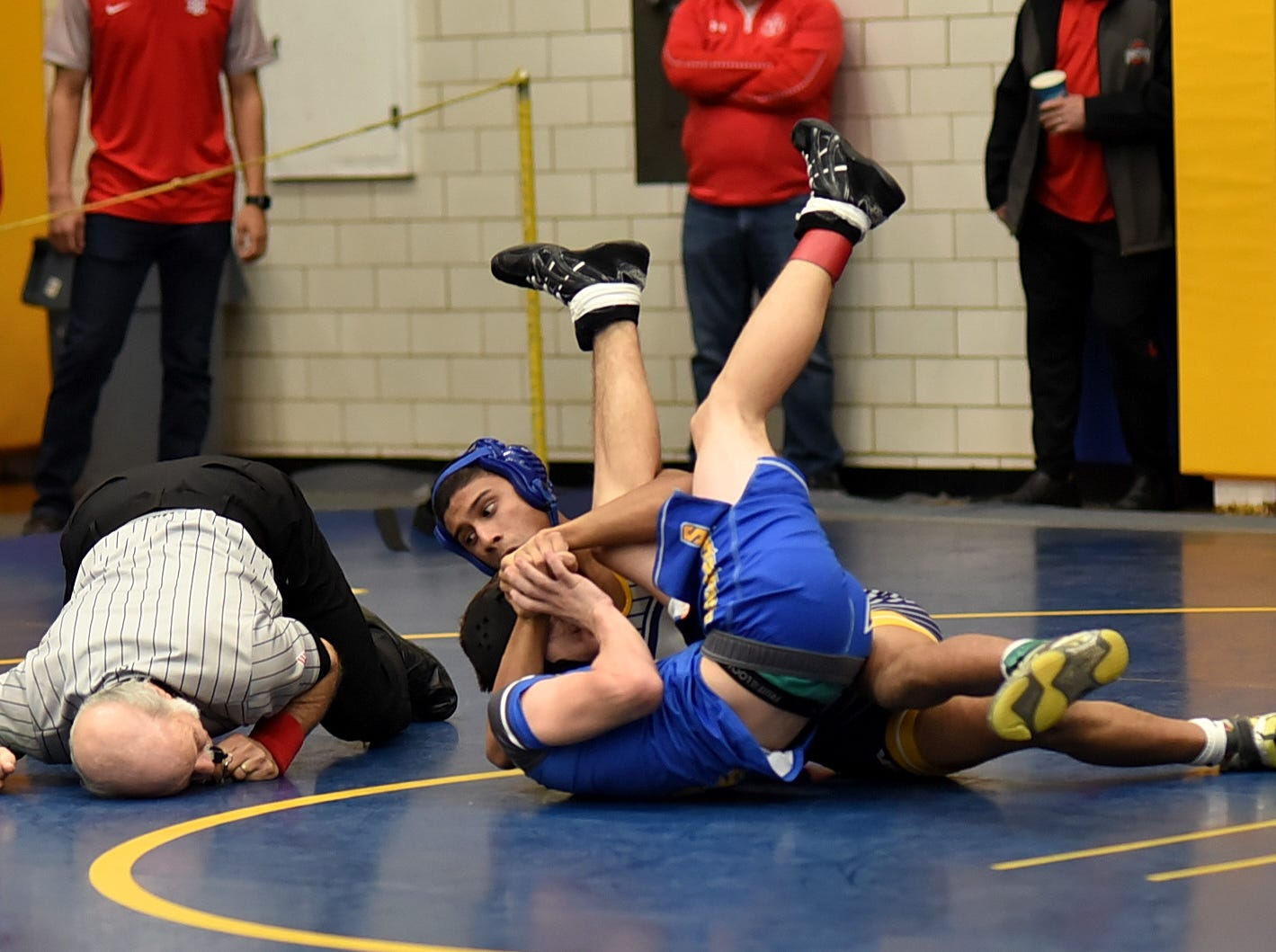 Madeira's Ramakrishna Gandhi pins Zach Case of Clerrmont Northeastern in early action at the Bob Kearns Madeira Invitational, January 4, 2019.