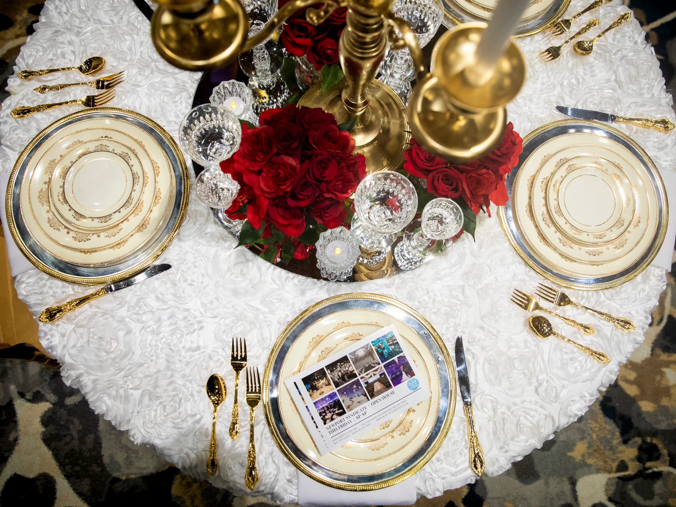 Newport Syndicate displayed linens and table decorations that can be used at their event space for the Wendy's Bridal Show at the Duke Energy Convention Center Saturday, January 5, 2019 in Downtown Cincinnati.