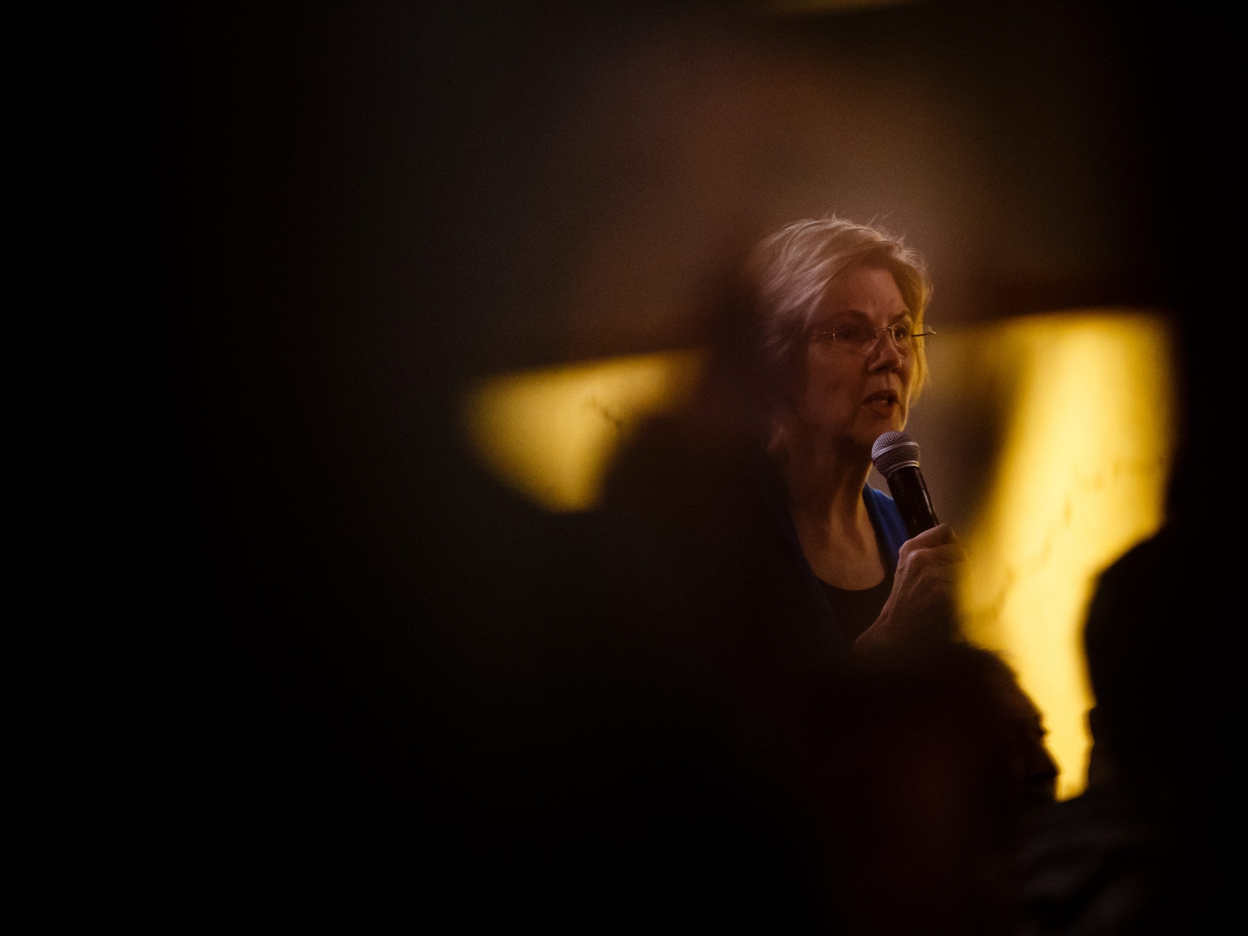 Sen. Elizabeth Warren speaks during an event on her first trip through Iowa as a possible 2020 presidential candidate on Friday, Jan. 4, 2019, in Council Bluffs.