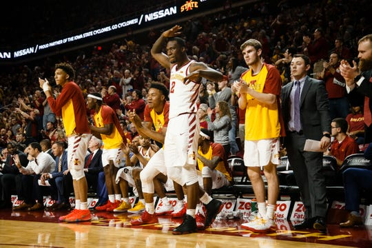 The ISU bench reacts during the first half of their basketball game on Saturday, Jan. 5, 2019, in Ames.
